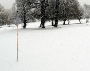 Winter golfers play with purple balls.