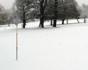 Winter golfers play with purple balls.